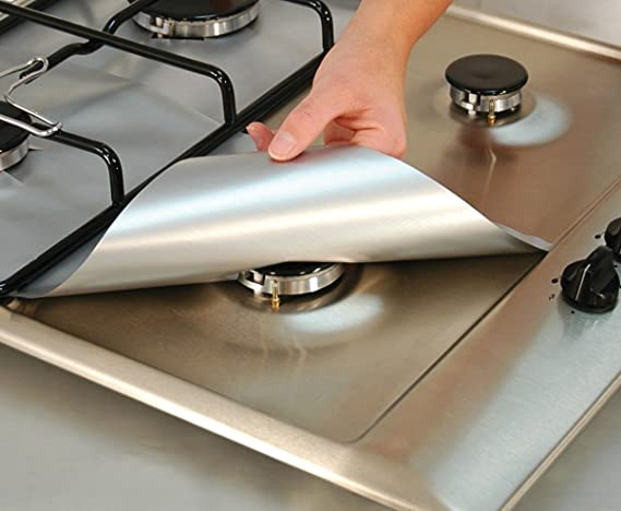 853185b7c4 4-Pack Cooks Innovations Silver Non-Stick Burner Covers - Easy Clean Gas  Range