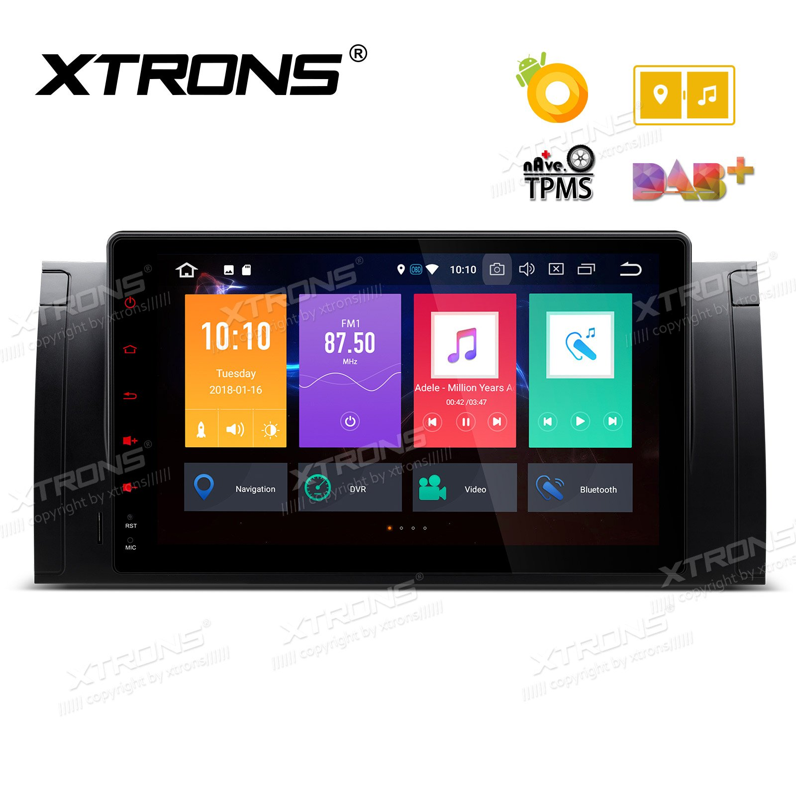 XTRONS 9'' Android 8.0 Octa Core 4G RAM 32G ROM HD Digital Multi-touch Screen OBD2 DVR Car Stereo Player Tire Pressure Monitoring Wifi OBD2 NO-DVD for BMW X5 E53 E39
