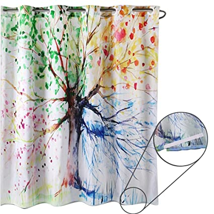 ZSZT Ringless Shower Curtain Built In Eyelets Design For Flexible Installation Waterproof Mildew