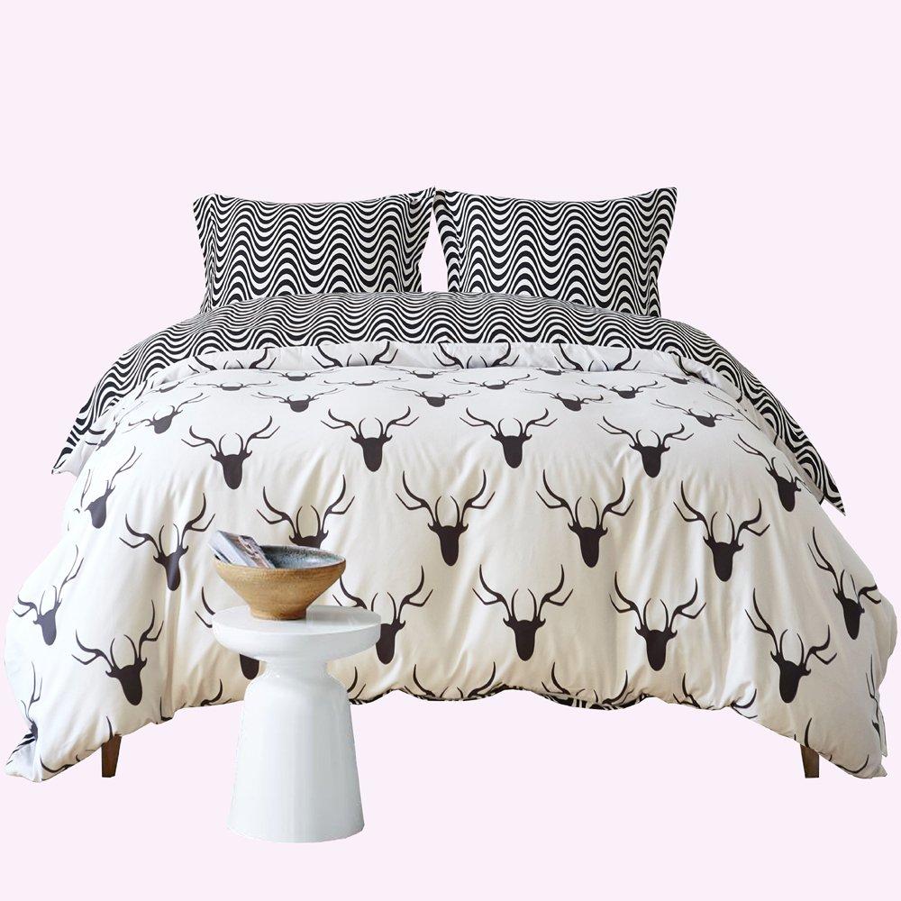 Zebra Elk Pattern Duvet Cover Set Black and White Animal Bedding Set Super Soft Comforter Cover for Home Hotel(Queen)
