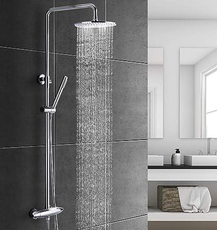 BELLA PLUVIA AQUA-TJ01 Duschsystem inkl. Thermostat Regendusche Kopfbrause/Handbrause mit Duschstange und Brauseschlauch, mod