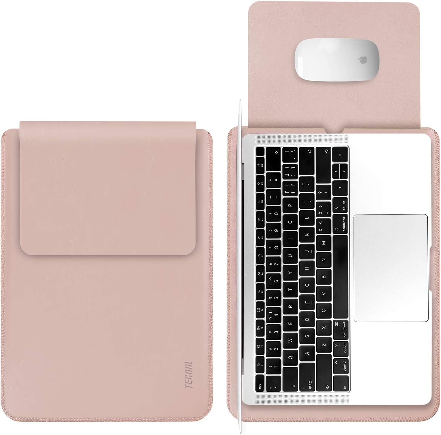 TECOOL 13 Pulgadas Funda Portátil, Funda de Cuero Protectora Bolsa Ordenador Laptop Sleeve para MacBook Air 13 / MacBook Pro 13.3 Retina, 13.5 Surface Laptop 1 2 3, MateBook D 14, DELL XPS 13 - Rosa