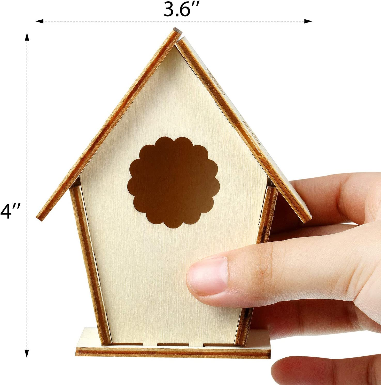 Wooden Birdhouse DIY Kits Including 12 Pieces 4 Shapes Wooden Unfinished Paintable Bird House with 12 Colour Watercolour Pen and 19 Stereoscopic Butterfly Sticker for Boy Girl Crafting and Decorating