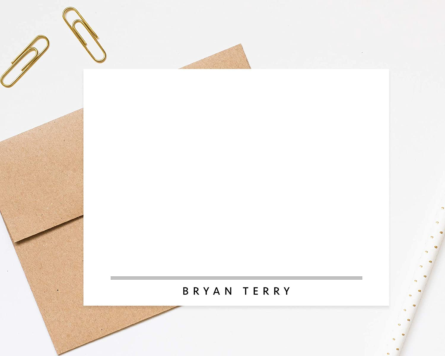 Simple Modern Personalized Stationery Stationary Note Cards with Envelopes