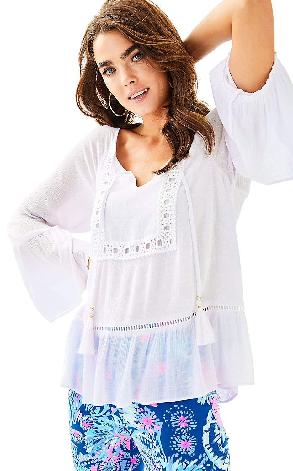 Lilly Pulitzer Womens Amisa Top in Resort White XS