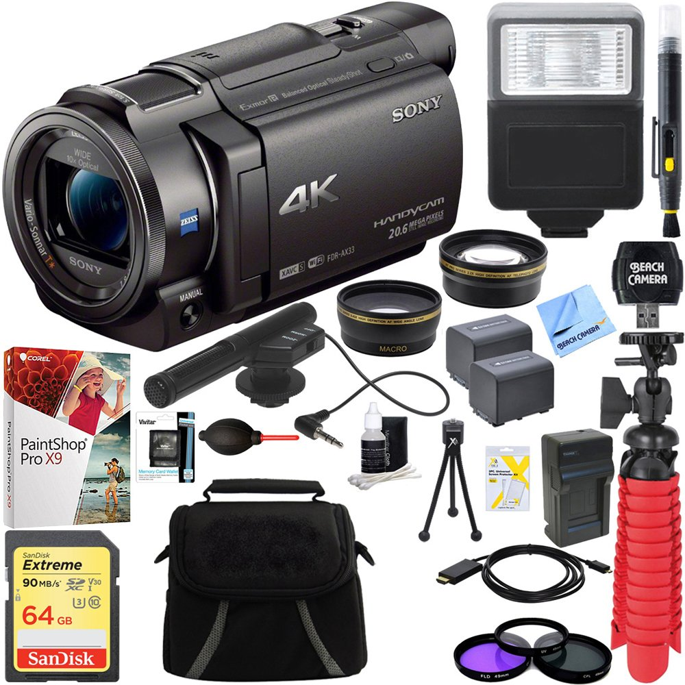 Sony FDR-AX33/B - 4K Camcorder with Mini Zoom Microphone + 64GB SDXC Memory Card + 0.43x Wide Angle + 2.2x Telephoto Lens Converter + Carrying Case + Card Reader + Microfiber Cloth + Tripod+More by Sony