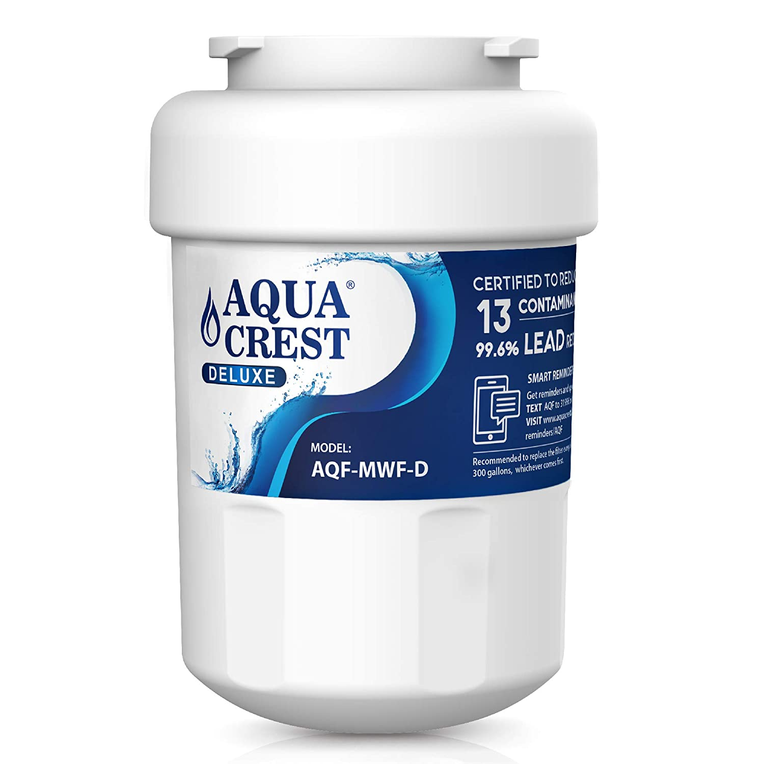 AQUACREST MWF NSF 401,53&42 Certified Refrigerator Water Filter, Compatible with GE MWF, SmartWater, MWFP, MWFA, GWF, HDX FMG-1, WFC1201, GSE25GSHECSS, PC75009, RWF1060, 197D6321P006