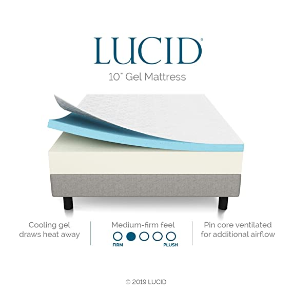 LUCID 10 Inch Gel Memory Foam Mattress