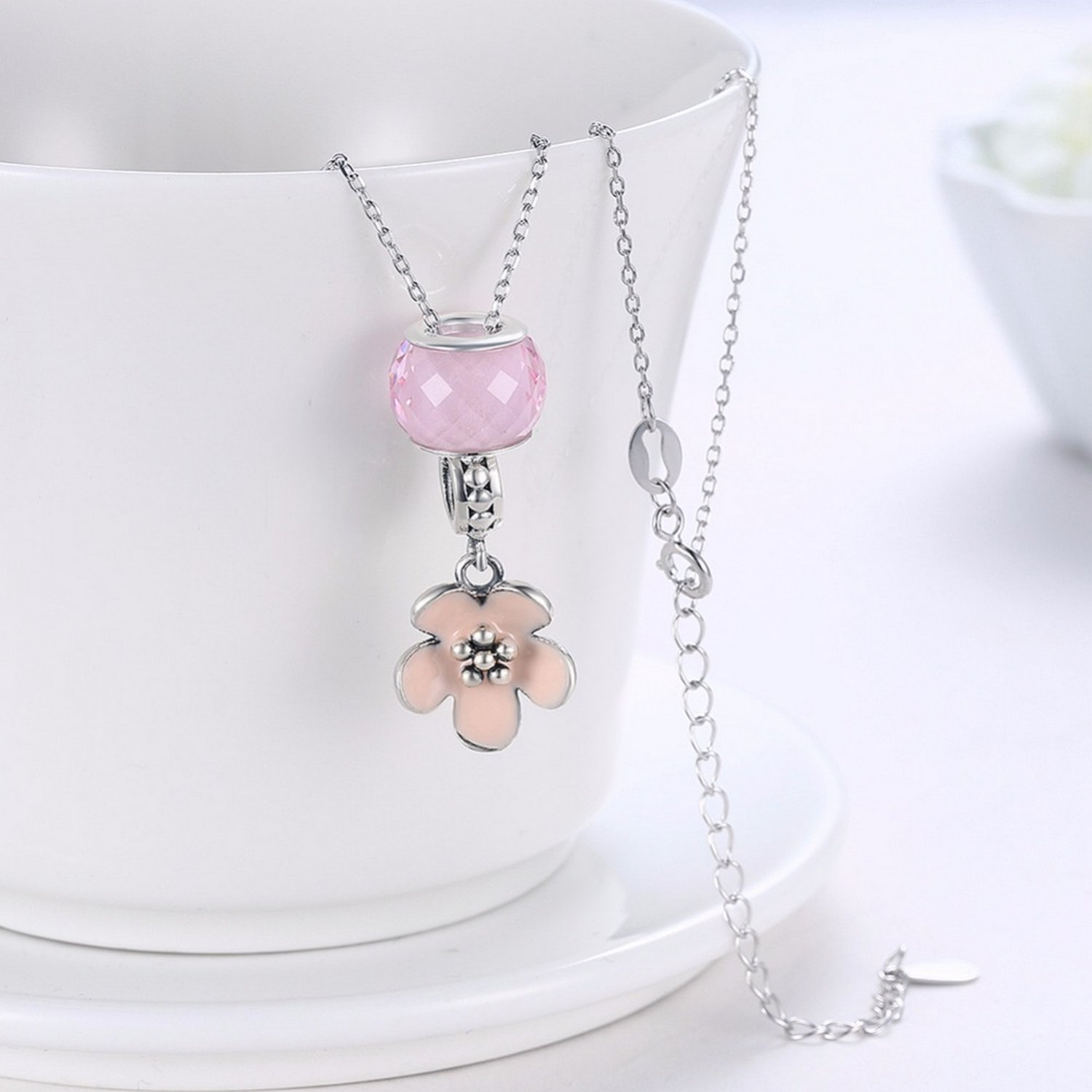 MMC Murano Glass Bead Flower Silver Pendants Necklaces
