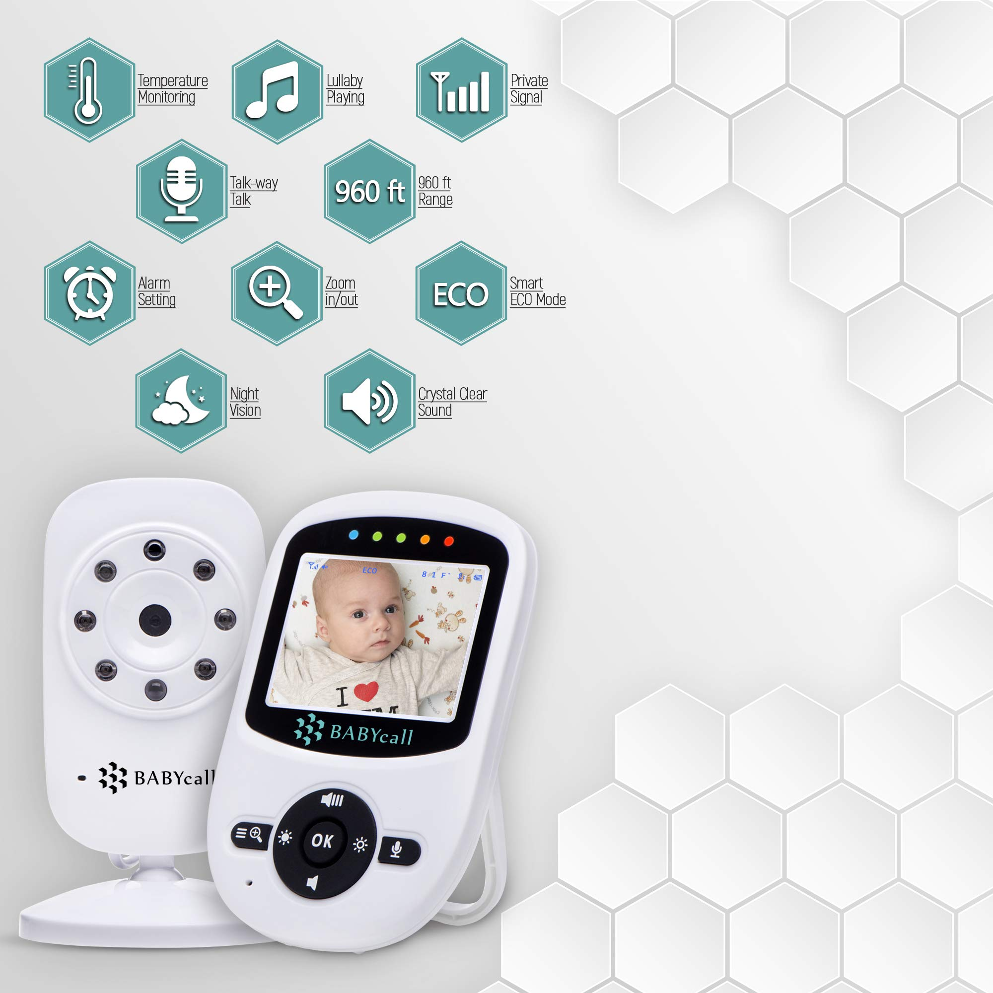 Video Baby Monitor with Camera - Upgrade 2019 Model of Monitoring System with Night Vision, Two Way Audio, Temperature detectors - Long Range Wireless Monitoring by BABYcall by BABYcall (Image #8)