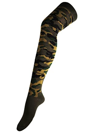 aba1abdcdb6 Womens Over The Knee Thigh High Long Socks Army Camo Camouflage Pattern (UK  4-7) in Army Green  Amazon.co.uk  Clothing
