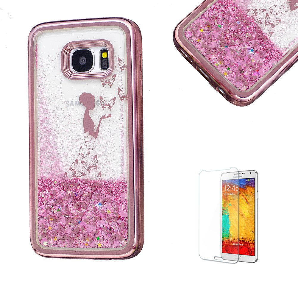 For Samsung Galaxy S7 Edge Case, Funyye Transparent Electroplate Plating Frame +New Creative Floating Water Liquid Small Love Hearts Design Color Change Soft TPU Shock Proof Case for Samsung Galaxy S7 Edge-Eiffel FUNYYE0026102