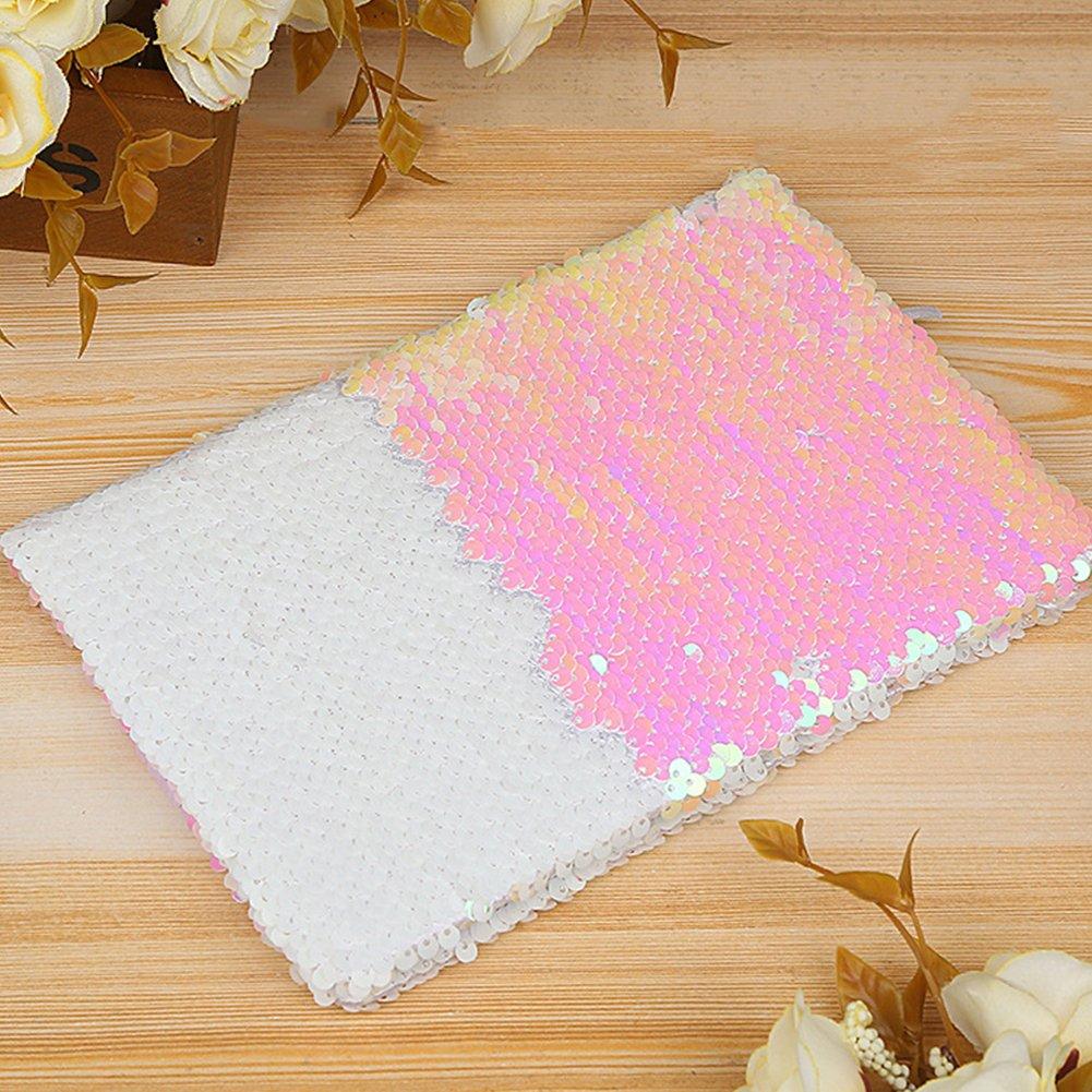Notebook creativo Reversible Sequin Journal Notebook Fashion Flip Paillettes con lettera modello Diario per ragazze bambini Teens Light Pink