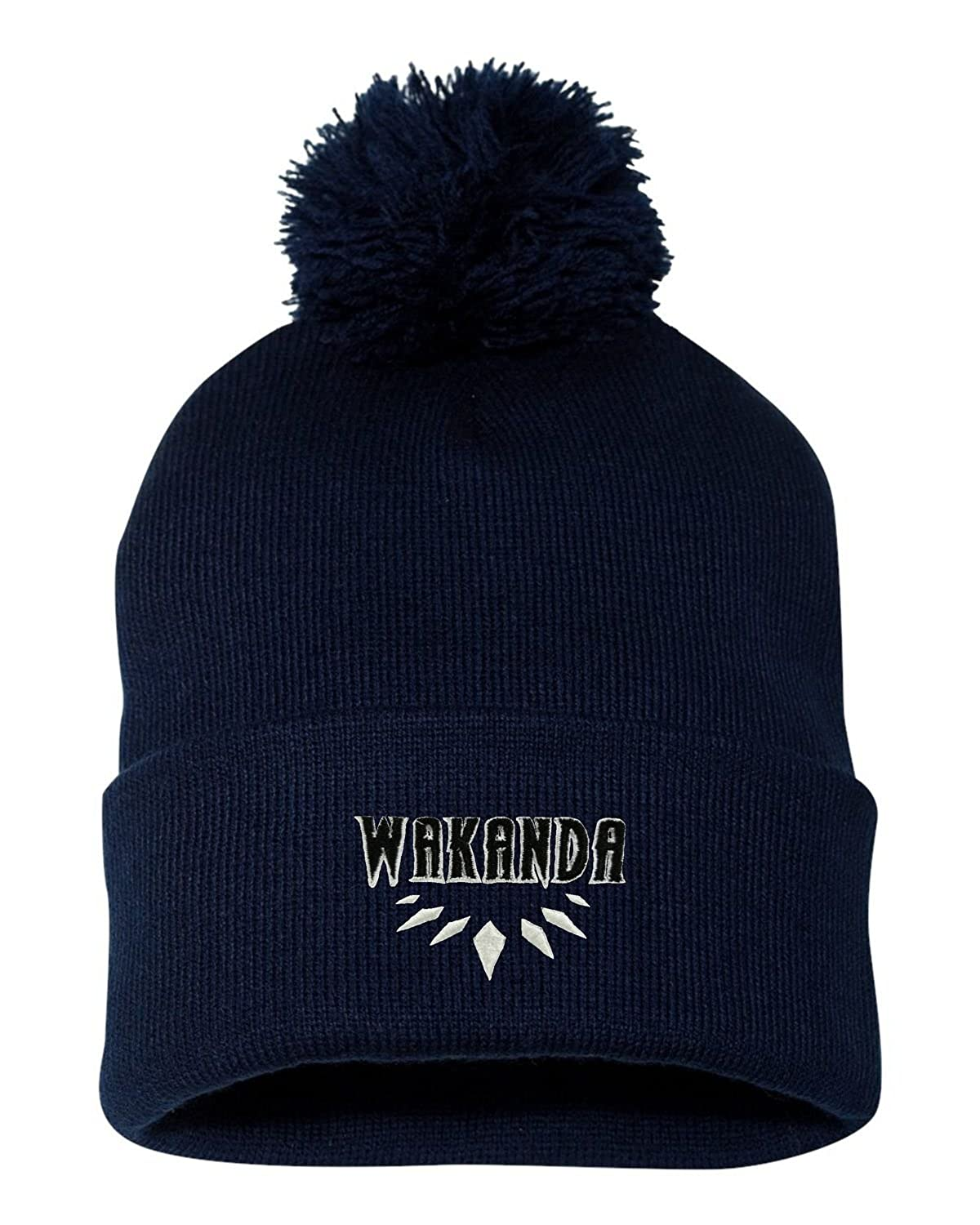 7a19cd28 Amazon.com: Go All Out One Size Black Adult Wakanda Embroidered Knit Beanie  Pom Cap: Clothing