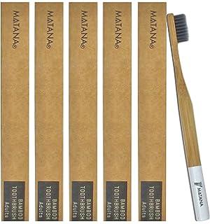 5 Premium Cepillos de Dientes de Bambú para Adulto - Blanqueamiento de Dientes Naturales Cepillos de