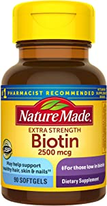 Nature Made Biotin 2500 mcg Softgels 90 Ct, Support Healthy Hair, Skin, Nails† (Packaging May Vary)