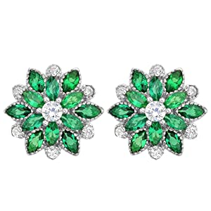 EleQueen 925 Sterling Silver Full Prong Cubic Zirconia Blooming Flower Bridal Stud Earrings 15mm Emerald Color