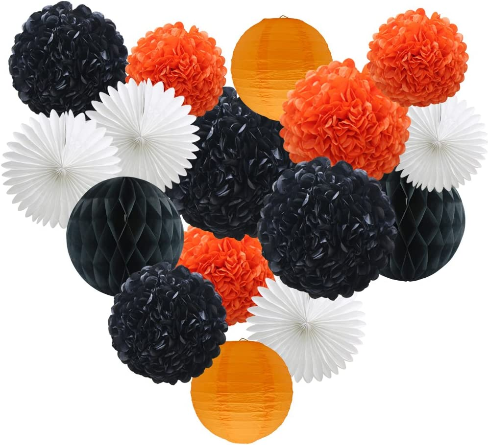 Party Decorations Kit - 16pcs Paper Tissue Honeycomb Balls Lanterns Paper Pom Poms Flowers Hanging Fan for Halloween Bridal Baby Shower Birthday Wedding School Graduation (Orange Black White)