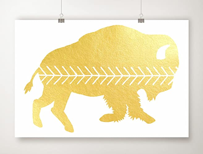 Amazon.com: Gold Foil Buffalo Print, Gold Leaf Bison Artwork ...
