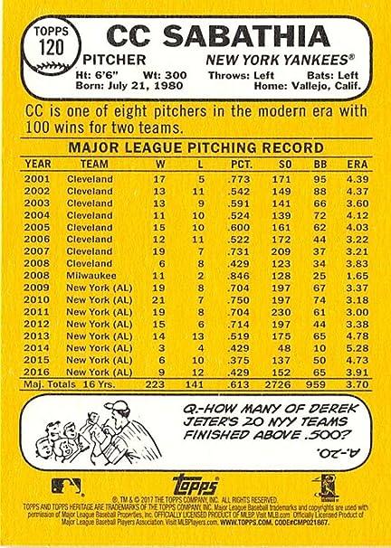2017 Topps Heritage #120 CC Sabathia New York Yankees Baseball Card
