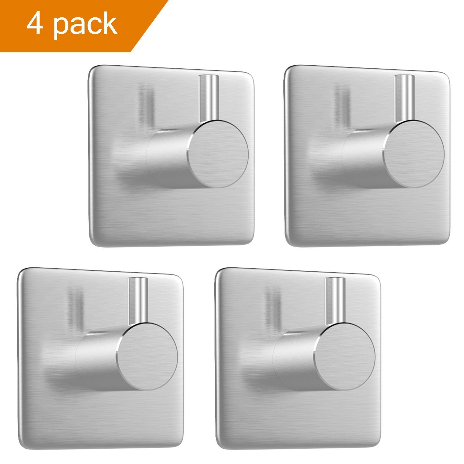 Wuyue Hua 4PACK Self Adhesive Hook Kitchen Bathroom Wall Door Heavy Duty 304 Stainless Steel Stick Holder Hanger Brushed Finish