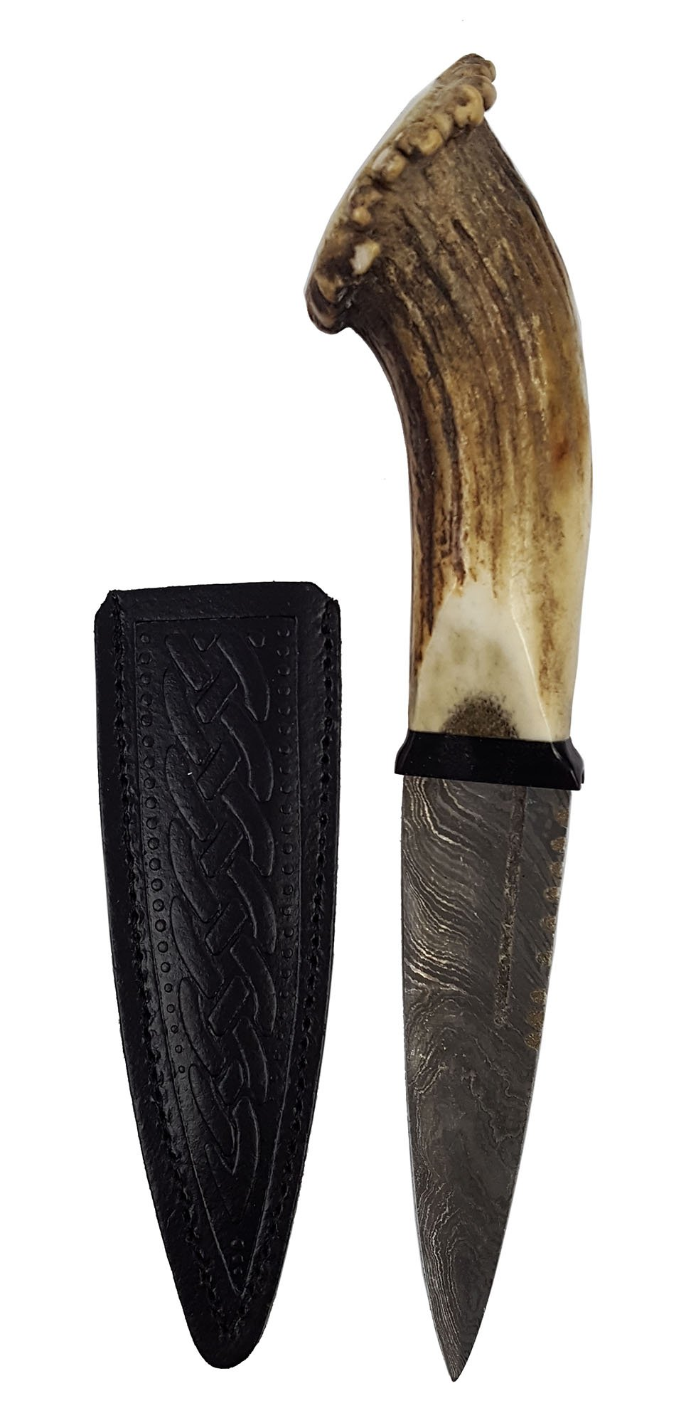 Genuine Full Crown Stag Horn Sgian Dubh with Damascus Steel Blade