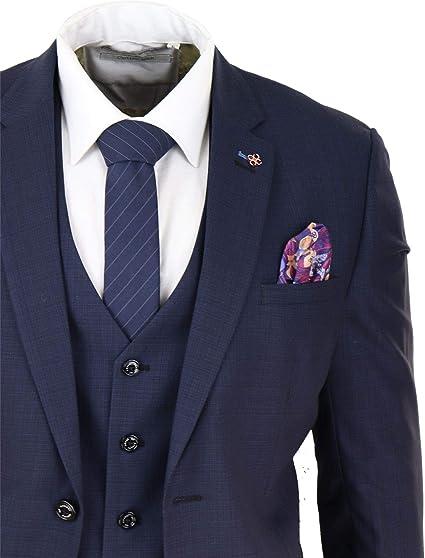 Traje de 3 Piezas Azul Marino Ajustado clásico Retro Vintage Ideal Boda y Oficina para Hombre