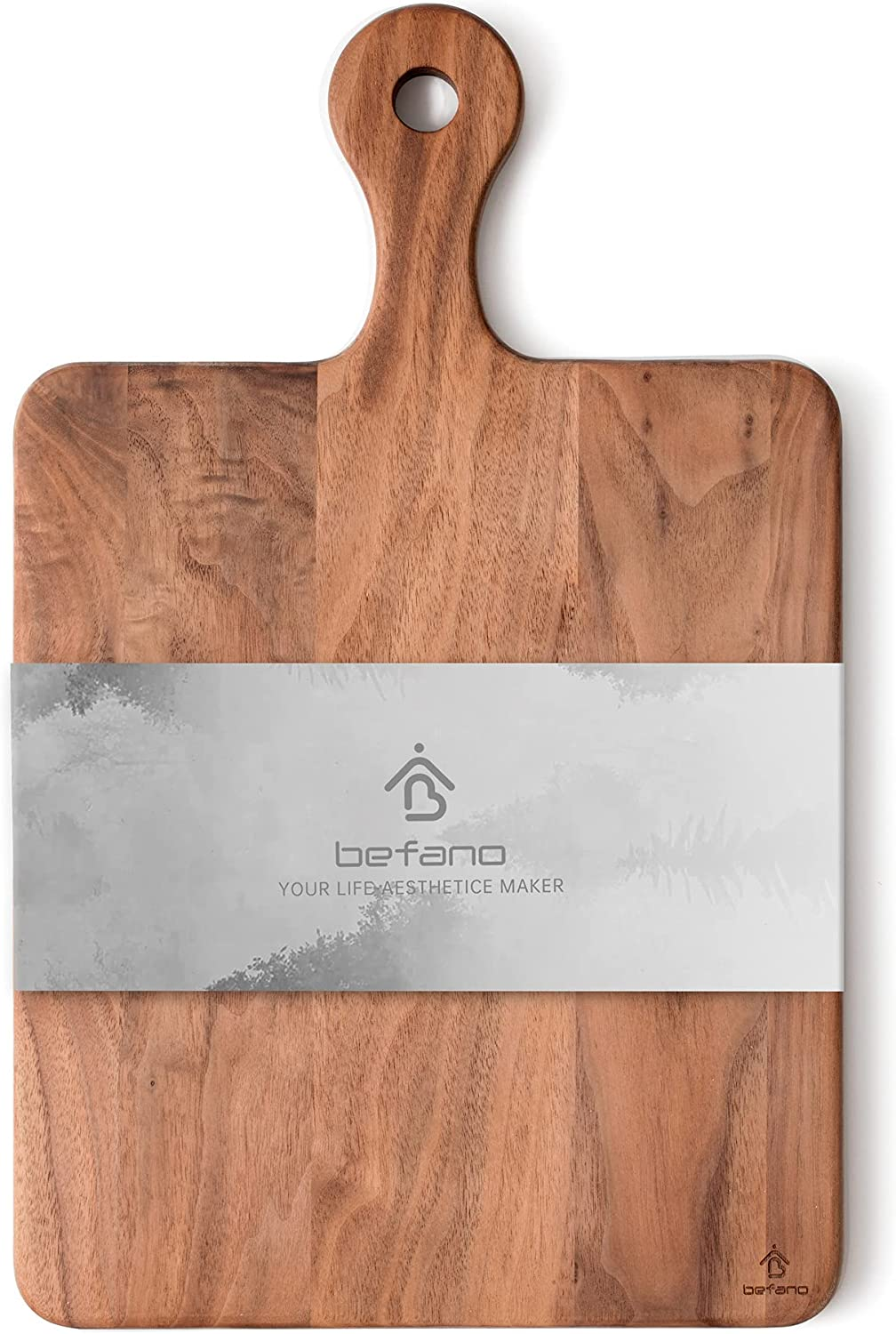 Befano Black Walnut Square Cutting Board for Kitchen with Handle, Serving Tray, Bread Tray, Pizza Plate, Crackers Platter, Chopping Board for Meat, Bread, Gift Box Included(10x16x0.8Inches)