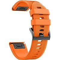 ANCOOL Correa de repuesto de reloj, para Garmin Fenix 5/Fenix 5 Plus/Forerunner 935/Approach S60/Quatix 5, de ajuste sencillo, de silicona suave, de 22 mm de ancho, Anaranjado, 22mm for Garmin Fenix 5