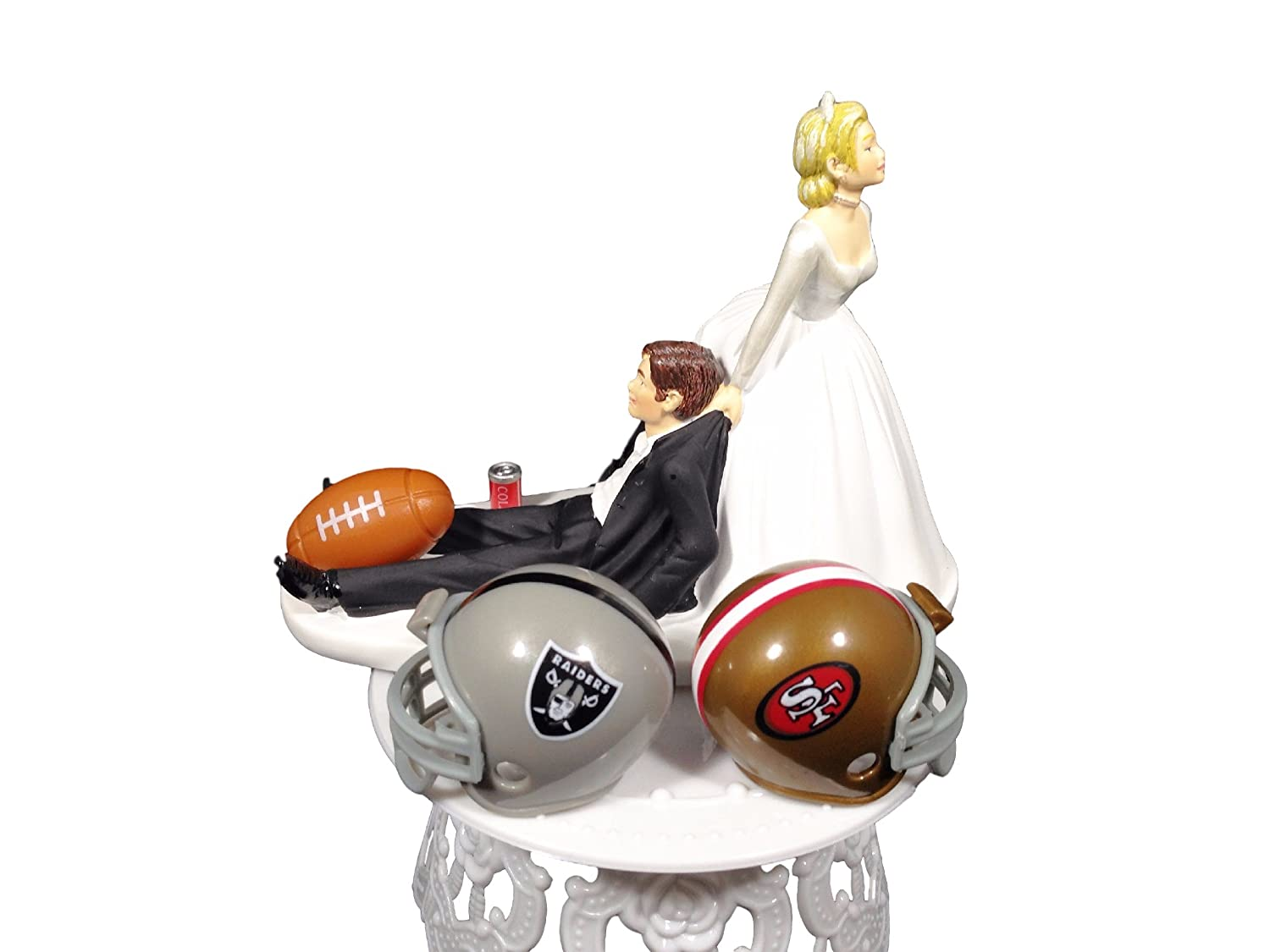 Click to buy Wedding Reception Decoration Ideas: Playful Football Wedding Couple Cake Topper customizable nfl teams from Amazon!