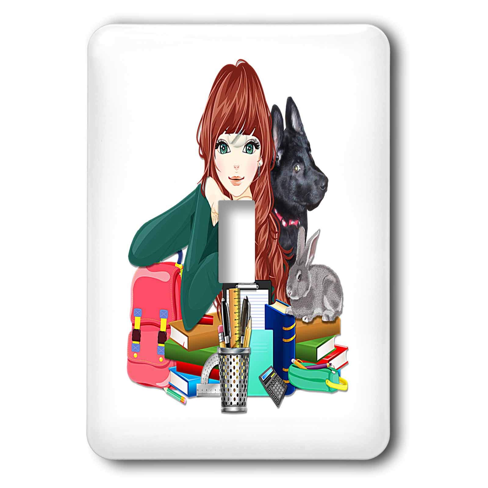 3dRose Sandy Mertens Dog Designs - School Study Buddies Furry Friends and Girl, 3drsmm - Light Switch Covers - single toggle switch (lsp_295175_1)