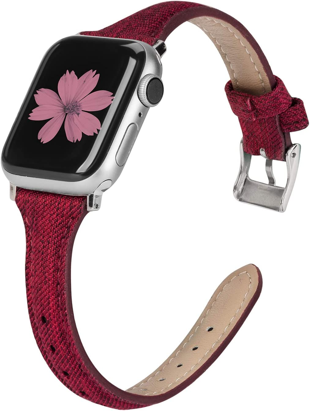 TOYOUTHS Compatible with Apple Watch Band 40mm 44mm Series 5 4 Woven Canvas Fabric Cloth Band Rose Gold Strap Wristband Women Men Compatible with iWatch Series 3 2 1 38mm 42mm, Red, 42mm