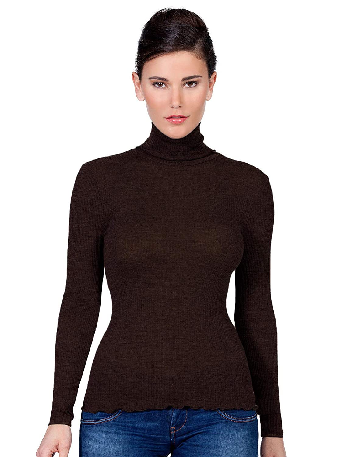 EGI Luxury Wool Silk Turtleneck Long Sleeve Top Proudly Made in Italy.