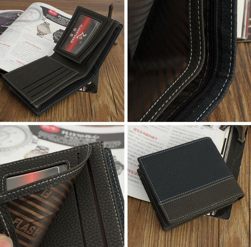 RETUROM Money Card plegable para hombre de cuero titular de la cartera bolsillos monedero embrague (Negro): Amazon.es: Equipaje