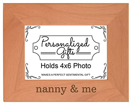Personalized Gifts Grandma Gift Nanny Me Grandchild Natural Wood Engraved 4x6 Landscape Picture Frame Wood