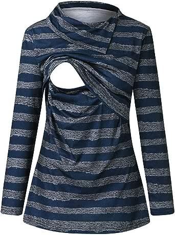 Mujeres Camiseta de Lactancia Premamá Camisa de Maternidad Side-Shred Ropa de Enfermería, Rayado de Mangas Largas Amamantamiento La Camisa Sujetadores y de Lactancia STRIR: Amazon.es: Ropa y accesorios