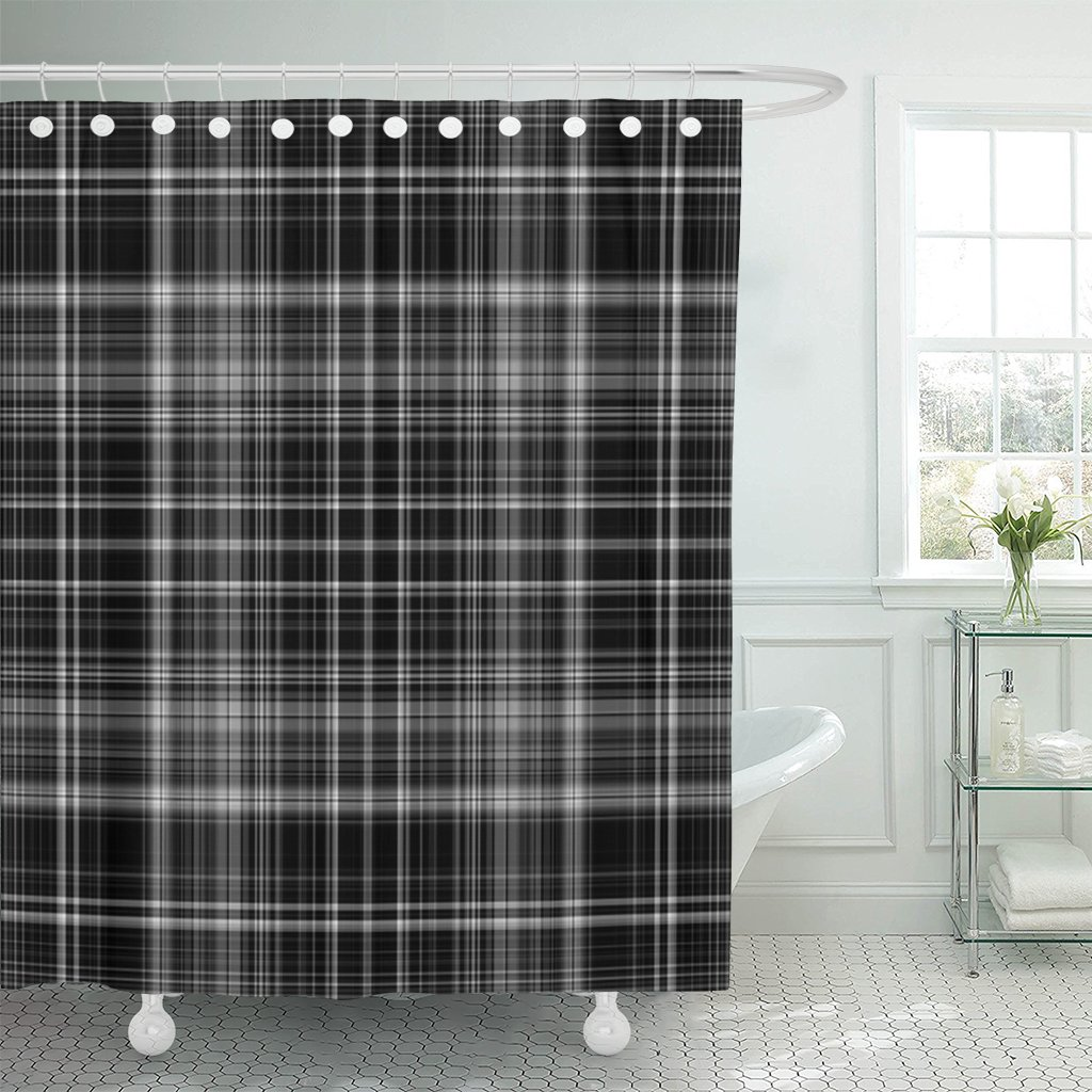 TOMPOP Shower Curtain Gray Fall Plaid Pattern Silver Masculine Stripes Winter Abstract Waterproof Polyester Fabric 72 x 72 Inches Set with Hooks
