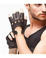 NAPPAGLO 上等品 メンズ 男性用 ショート 鹿革 レザー 手袋 穴デザイン U型嵌め口 全て外縫い 指なし 夏 春 秋 ドライブ バイク グローブ