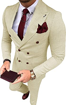 P G Men S Two Piece Suit Plaid Double Breasted Smart Formal Wedding Suit Amazon Co Uk Clothing