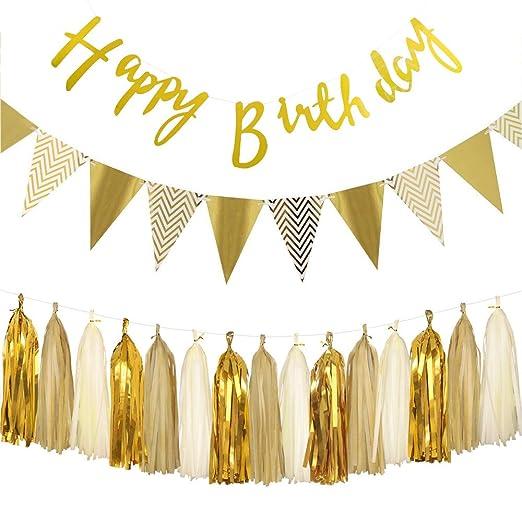 SIMUER Oro Cumpleaños Decoración Set, Happy Birthday Banner ...