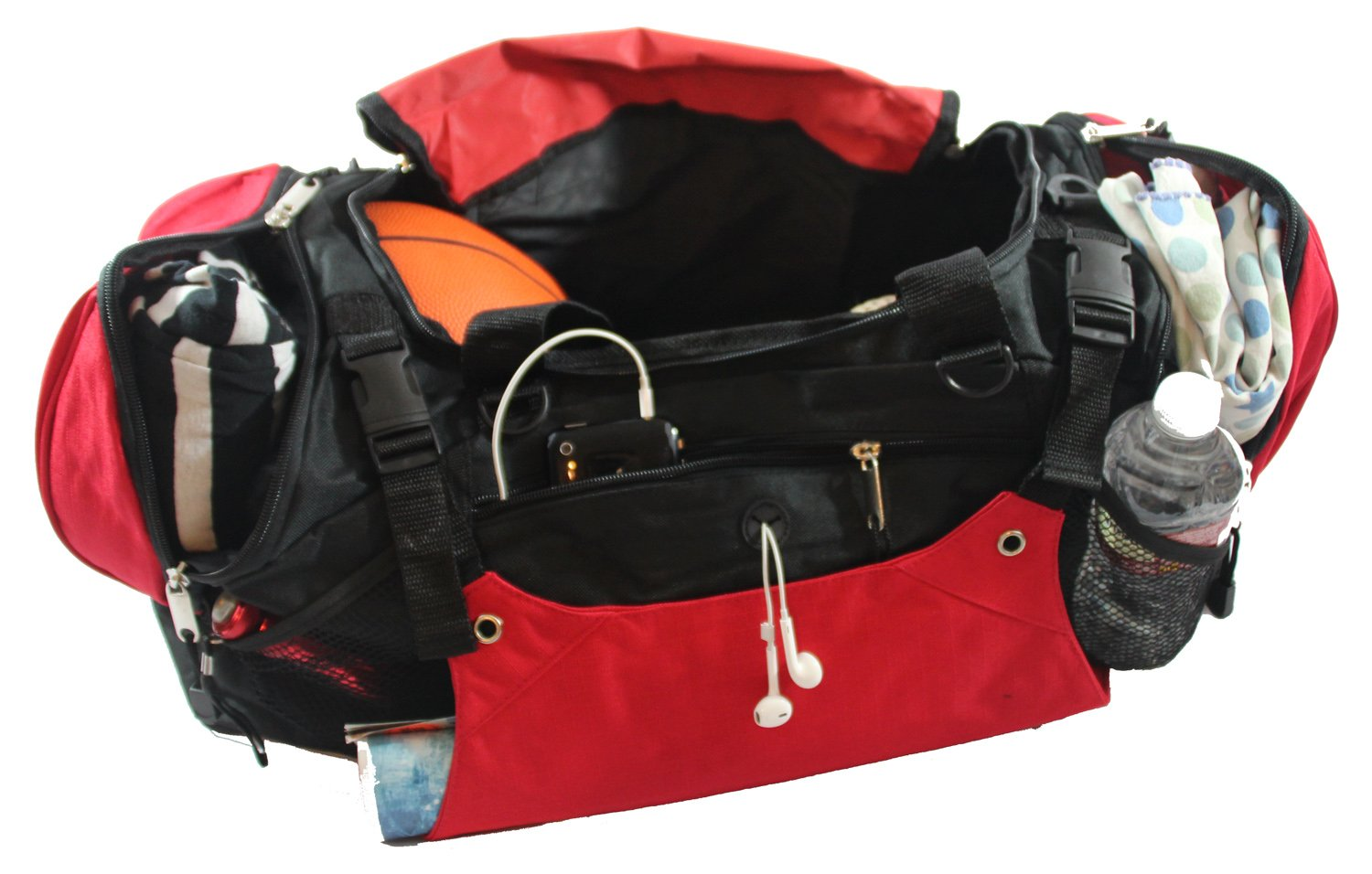 Xtitix Sport Gym Travel Deluxe Rip Stop Stylus Duffel Bag, 25'' L, Red by Xtitix (Image #4)