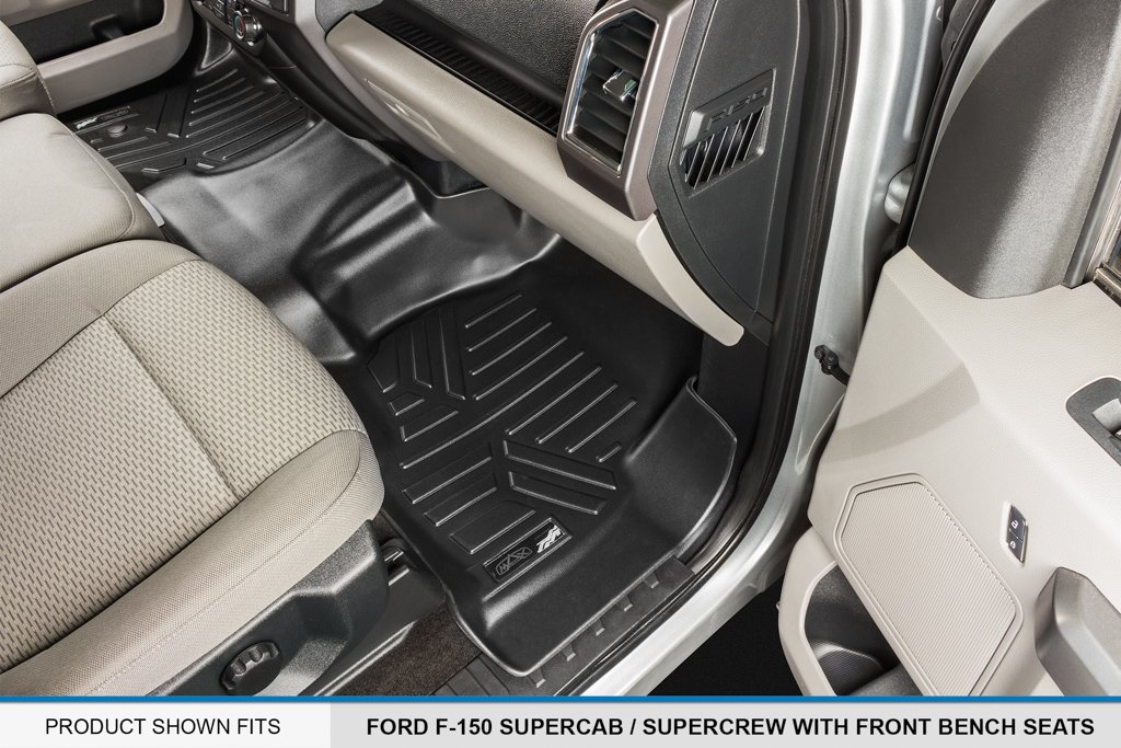 MAX LINER A0212/B0188 Custom Fit Floor Mats 2 Liner Set Black for 2015-2019 Ford F-150 SuperCrew Cab with 1st Row Bench Seat by MAX LINER (Image #3)