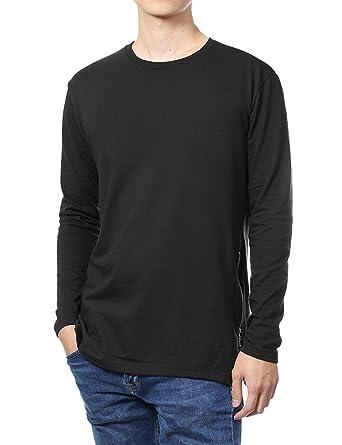 6861d4db9 Hat and Beyond Mens Long Sleeve Hipster Zipper T Shirt (Small,  1BJ0001_Black)