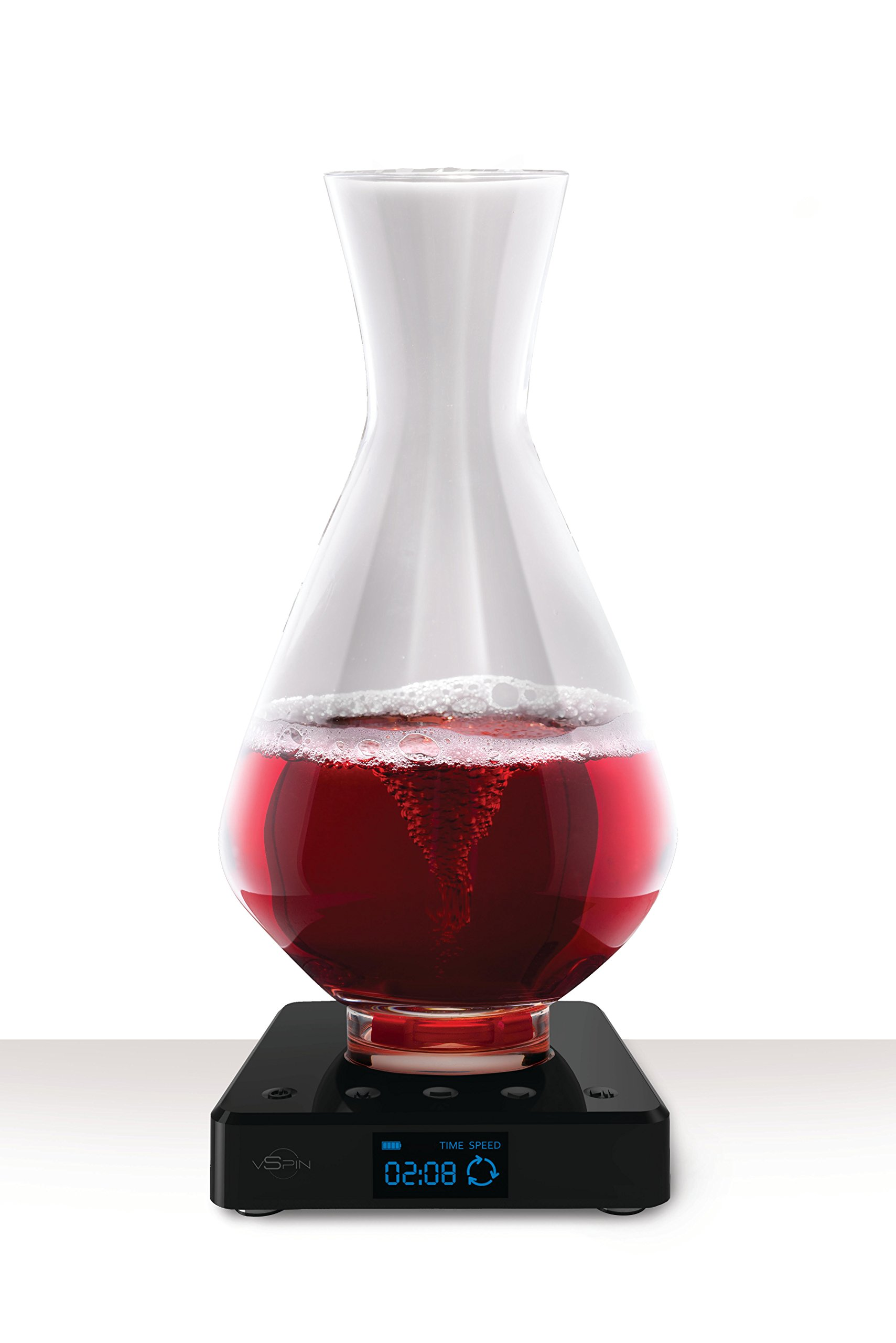 vSpin / Spiegelau Active Wine Decanter - Hand Assembled 100% Lead-free German Crystal - Electric Wine Aerator set - Original Patented Decanting Carafe - Elegant Wine Gift Luxury Wine accessories by VSPIN