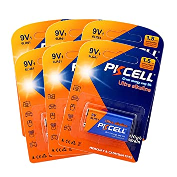 6 Pack de 9 V, 6LR61 MN1604 pilas alcalinas para detectores de humo, multímetro, micrófono inalámbrico: Amazon.es: Electrónica