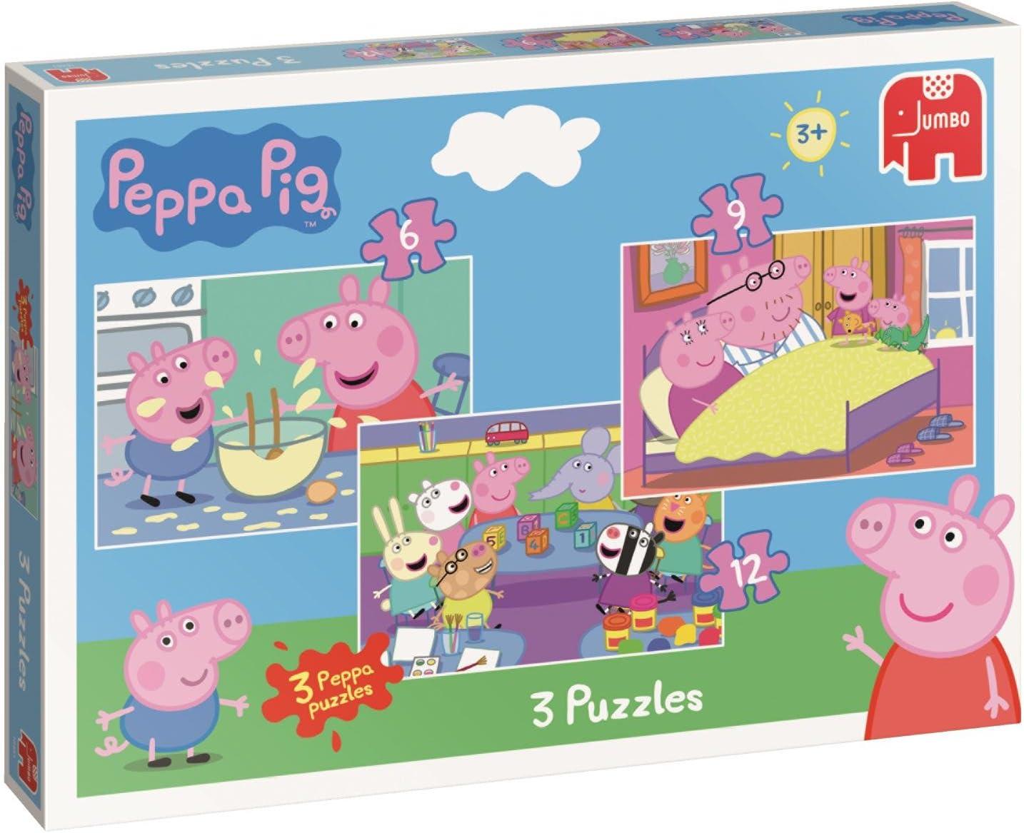 Jumbo 18481 Peppa Pig Trio - Puzzles en Caja (6/9/12 Piezas ...