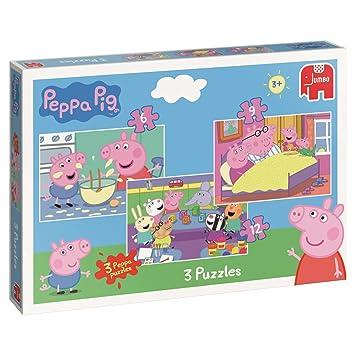 Jumbo 18481 Peppa Pig Trio - Puzzles en caja (6/9/12 piezas