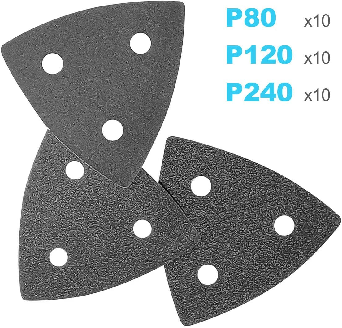ACTOMASTER 3-1//8 Triangle Sanding Pad with 30 Pcs Sandpaper 80//120//240 for Oscillating Tool Multitool