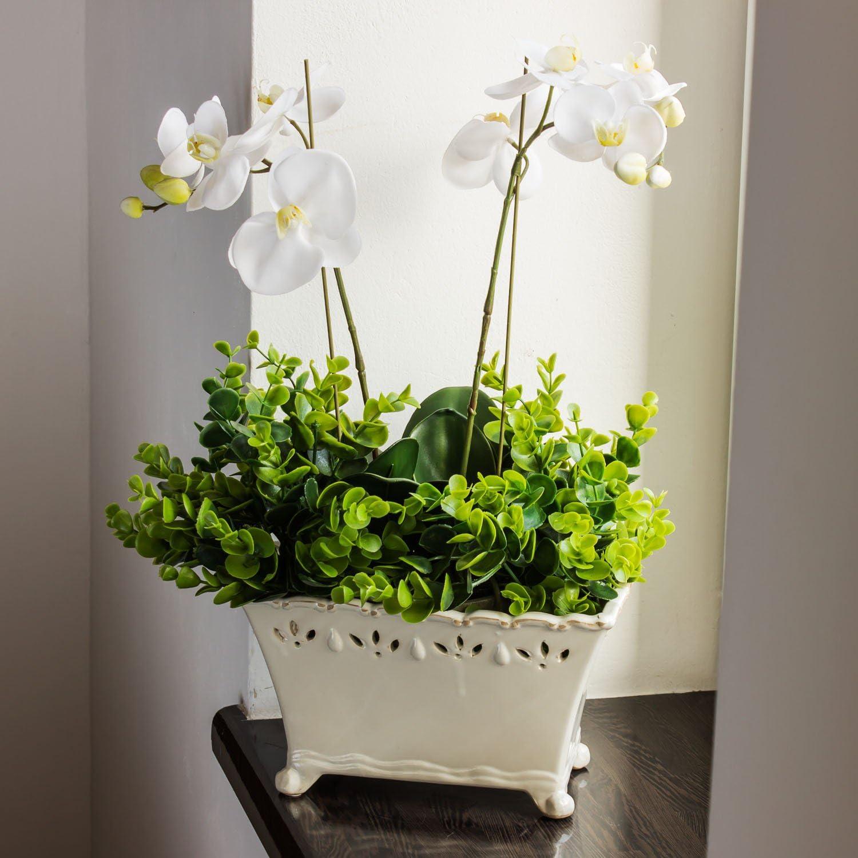 Keramik Blumentopf L 16,5 cm creme shabby F/ü/ßen Keramiktopf /Übertopf Topf