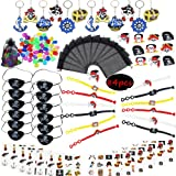 Pirate Party Favor Kit,Pirate Key Chain Rings Bracelets Tattoos Pirate Captain Eye Patches Pirate Treasure Organza Gift Bag for Kids Birthday Bag Filler Toys  Boys(84 PCS)